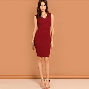 Pencil Dress Solid Sleeveless V Neck Bodycon Dress