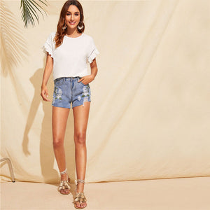 Ruffle Trim Guipure Lace Detail Short Sleeve White Stretchy T Shirt