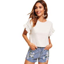 Load image into Gallery viewer, Ruffle Trim Guipure Lace Detail Short Sleeve White Stretchy T Shirt