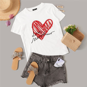 Minimalist Short Sleeve Graphic Print T Shirt Summer Casual