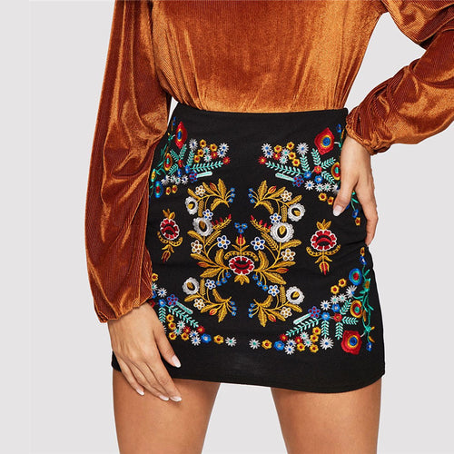 Black Botanical Embroidered Textured Mini Skirt