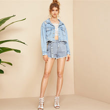 Load image into Gallery viewer, Casual Outerwear Crop Denim Jeans Jacket