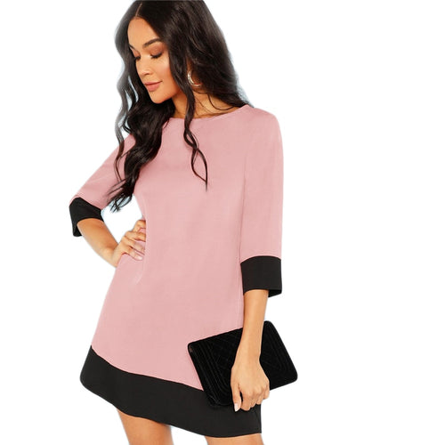 Pink Elegant Workwear Dress Contrast Trim Tunic O-Neck 3/4 Sleeve