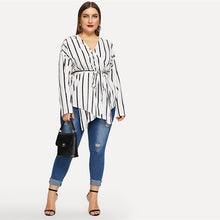 Load image into Gallery viewer, White Asymmetrical V-neck Belted Striped Blouse