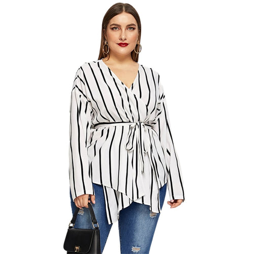 White Asymmetrical V-neck Belted Striped Blouse