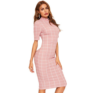 Mock-Neck Grid Textured Pencil Pink Dress Zipper Stand Collar