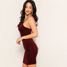 Load image into Gallery viewer, Backless Cami Dress Lace Up Back Velvet Backless
