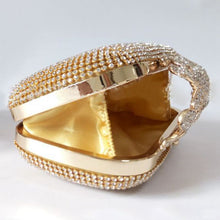 Load image into Gallery viewer, Unique Gold Rhinestone Evening Clutch Purse