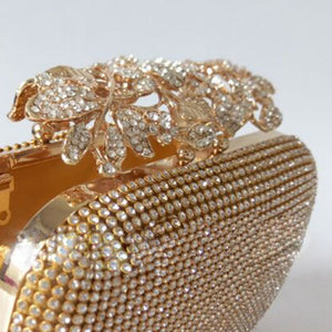 Unique Gold Rhinestone Evening Clutch Purse