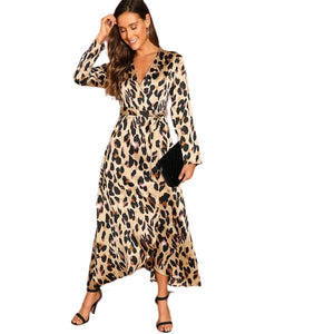 Elegant Multicolor Satin Leopard Deep V Neck  Half Sleeve Dress