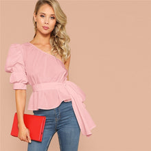 Load image into Gallery viewer, One Shoulder Puff Sleeve Blouse
