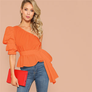 One Shoulder Puff Sleeve Blouse
