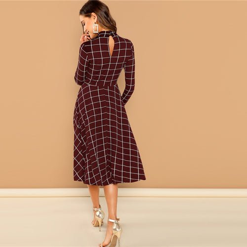 Elegant Plaid Print High Neck Fit And Flare Long Sleeve High Waist Dress