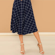 Load image into Gallery viewer, Elegant Plaid Print High Neck Fit And Flare Long Sleeve High Waist Dress