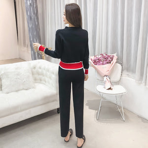 Fashion Casual Solid V-Neck Cardigan & Pants