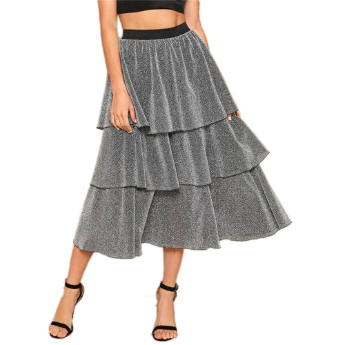 Silver Tiered Layer Ruffle Glitter Mid Waist Casual Long Full Length Skirt