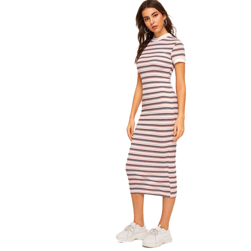 Striped Pencil Dress Preppy Colorblock Stretchy Dress