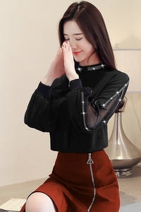 Spliced Style Long Sleeve Fashion Blouse