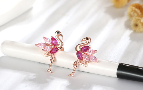 925 Sterling Silver Flamingo Shape Stud Earrings