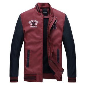 Stand Collar Pu Leather Coat Fleece Pilot Jacket
