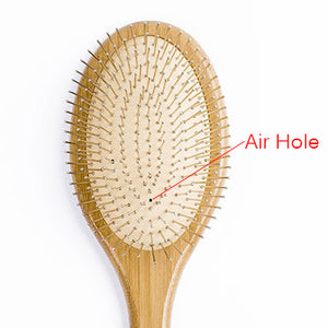 Bamboo Hair Brush Steel Needle Hair Scalp Massage Comb