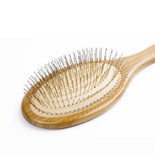 Load image into Gallery viewer, Bamboo Hair Brush Steel Needle Hair Scalp Massage Comb