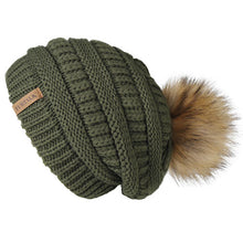 Load image into Gallery viewer, Winter Knitted Slouchy Beanie Faux Fur