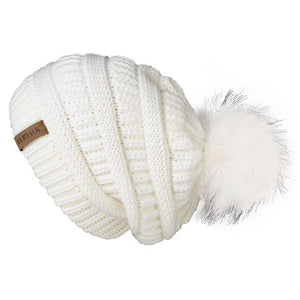 Winter Knitted Slouchy Beanie Faux Fur
