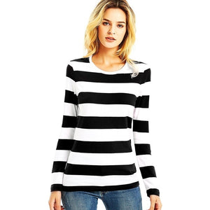 Red White Striped T Shirt Long Sleeve Tee