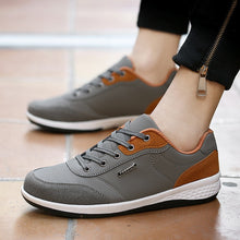 Load image into Gallery viewer, Men's Lace-Up Microfiber Leather Casual Shoes