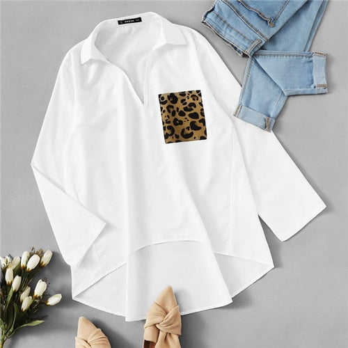 Spring Casual Long Sleeve Solid Loose Blouse