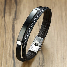 Load image into Gallery viewer, Leather Bracelet Stainless Steel Bar Layered Bangle