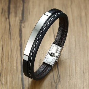 Leather Bracelet Stainless Steel Bar Layered Bangle