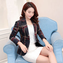 Load image into Gallery viewer, Classic Plaid Single Button Women Jacket Blazer Casual