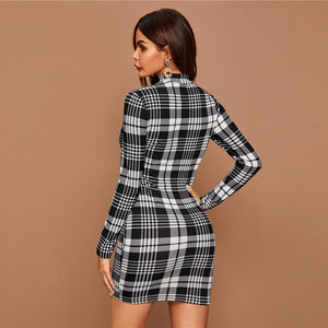 Black And White Plaid Stand Collar Elegant Bodycon Dress