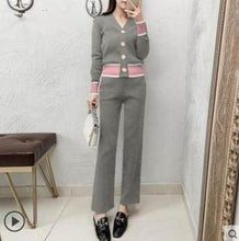 Load image into Gallery viewer, Fashion Casual Solid V-Neck Cardigan & Pants