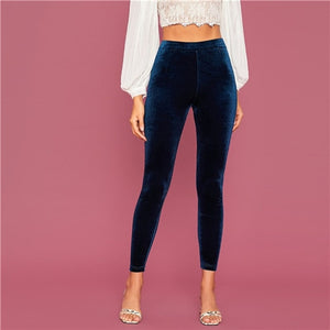 Stretchy Navy Velvet Cropped Leggings