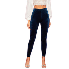 Load image into Gallery viewer, Stretchy Navy Velvet Cropped Leggings