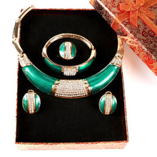 Load image into Gallery viewer, Full Rhinestone Green African Beads Jewelry Set