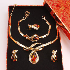 African Fashion Crystal Beads Gold Color Fine Jewelry Set