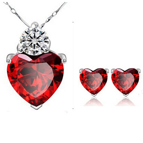 Red Crystal Necklace Pendant/Earrings Jewelry Collections