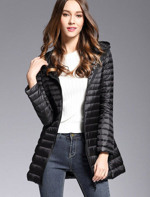 Woman Spring Padded Hooded Long Jacket White Duck Down