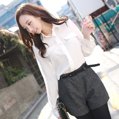 Fashion White Casual  Chiffon Blouse