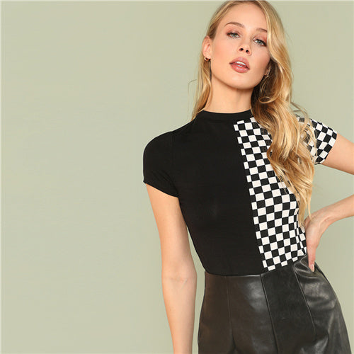 Black and White Plaid Casual  Short Sleeve Tee