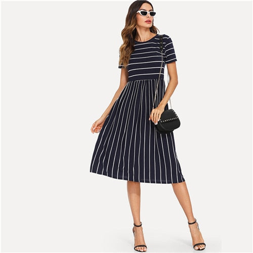 Navy Elegant Round Neck Short Sleeve Mixed Stripe Dress