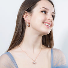 Load image into Gallery viewer, Cubic Zirconia Rose Gold Color Heart Hoop Earrings And Necklace