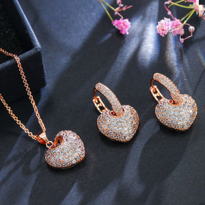 Cubic Zirconia Rose Gold Color Heart Hoop Earrings And Necklace