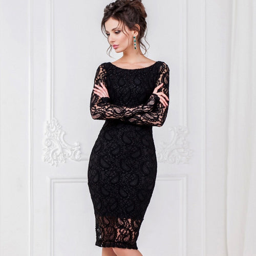 Elegant Sexy Lace Evening Pencil Dress