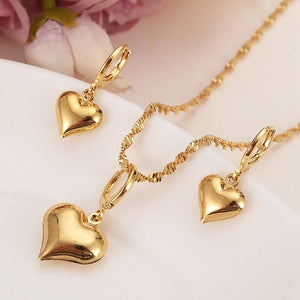 Gold Pendant Necklace/Earrings Jewelry Set For Women