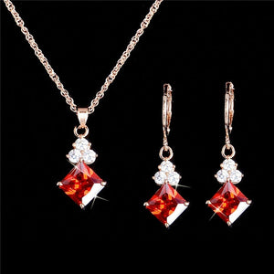 Vintage Crystal Earrings Jewelry Set